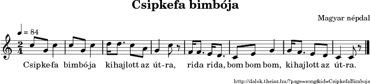 Csipkefa bimbója - music notes
