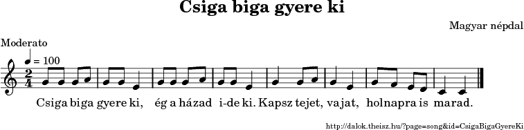 Csiga biga gyere ki - music notes
