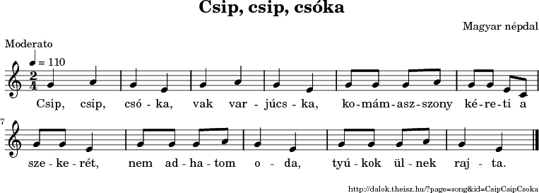 Csip, csip, csóka - music notes