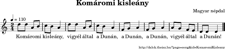 Komáromi kisleány - music notes